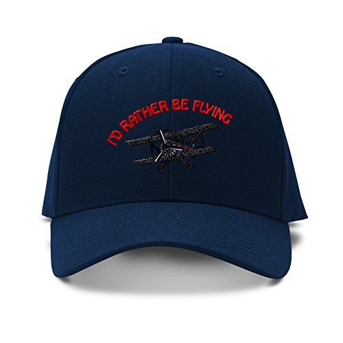 Speedy Pros I'd Rather Be Flying Biplane Embroidery Adjustable Structured Baseball Hat Navy
