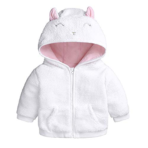 (puseky Newborn Baby Boys Girls Cartoon Ear Hooded Zipper Jacket Coat Sweater Warm Clothes Outerwear (White, 0-3 Months))