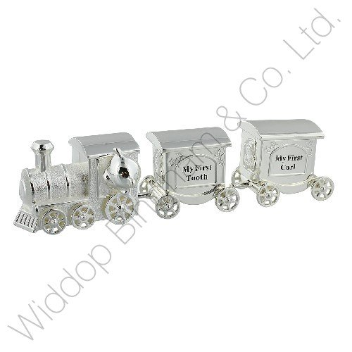 Silver Plated Train with 2 Carriages - My First Tooth & First Curl Baby Gifts