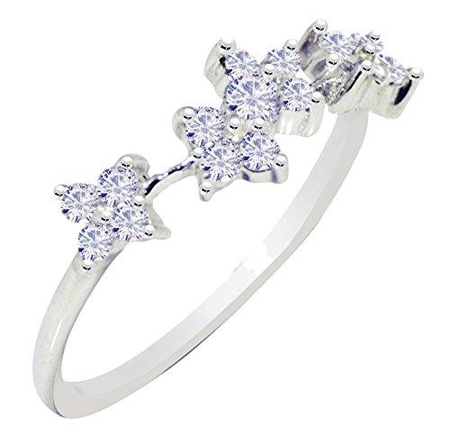 Banithani 925 anneau de bande d'argent pur doigt design en pierre cz nouveau bijoux de mode indienne