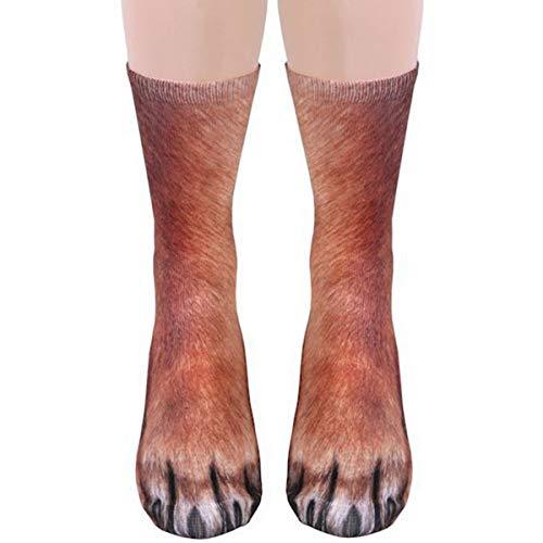 Eurobuy Animal Paw Socks 3D Print Animal Foot Hoof Paw Feet Crew Socks Adult Digital Simulation Socks Unisex Tiger Dog Cat Sock (Dog)