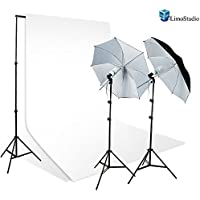 LimoStudio 800-840W Photography Studio Lighting Kit + 10 x 10 White Muslin Backdrop Background
