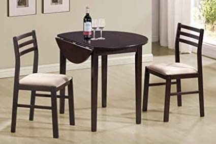 Dinette Sets For Small Spaces Dinning Room Table Set Three Piece Cappuccino Wood Round