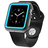 Apple Watch Premium Protective Case, Poetic [Duo Lite] Apple Watch 42mm Case Ultimate Shock Protection In A Thin Minimal DesignNEW [Duo] [Space Grey/Cyan] – [Includes 2 Screen Protectors] Ultra Stylish Protection From Drops And Impact With A Premium Design And Dual Layer Over Molded PC/TPU Shock Protection And Matching Colors For Apple Watch 42mm (2015) – Space Grey/Cyan (3-Year Manufacturer Warranty From Poetic)
