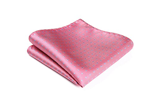 HISDERN Men's Polka Dot Wedding Party Pocket Square Handkerchief ()