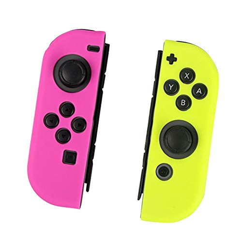 - Yudesun for Nintendo Switch Accessory Kits - Joy-con Gel Guards Controller Case Silicone Skins Protective Cover (Left rose red right yellow)