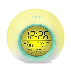 I2USHOP Alarm Clock for Kids Bedroom, Wake Up Light Digital Clock with Indoor Temperature & Calendar & 6 Natural Sound & 7 Colors Changing Light (Green)