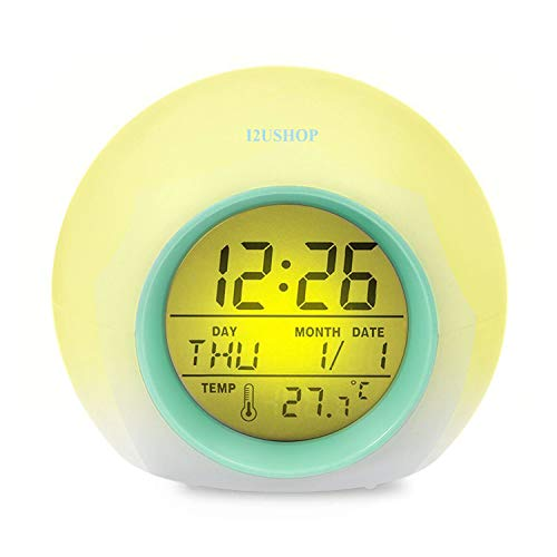 - I2USHOP Alarm Clock for Kids Bedroom, Wake Up Light Digital Clock with Indoor Temperature & Calendar & 6 Natural Sound & 7 Colors Changing Light (Green)