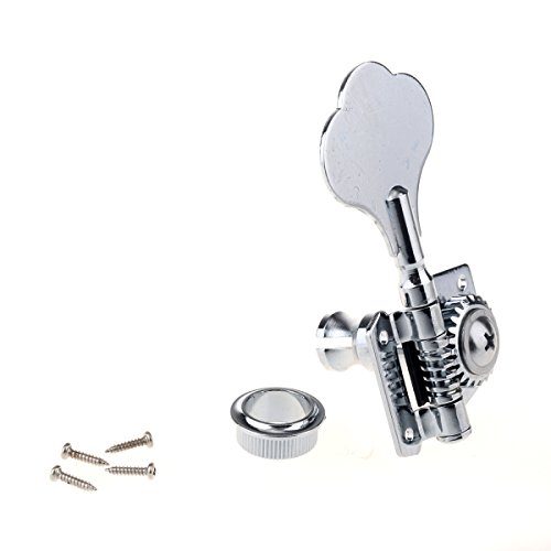 Musiclily Individual Vintage Open Geared Bass Tuners Machine Head Tuning Keys Pegs Right Hand for Jazz Precision P Bass Replacement, Chrome Bass Key