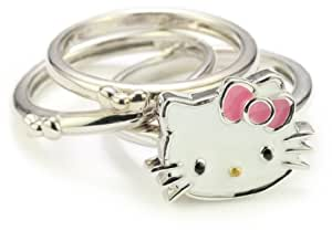 Hello Kitty Set of 3 Pink Enamel Bow and Sterling Silver Rings, Size 7
