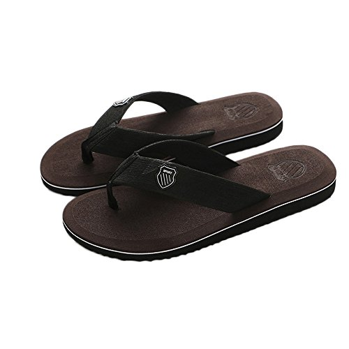 Londony♪ Women's Tide Rhinestones Toe-Post Sandal - Ladies Flip-Flop with Concealed Orthotic Arch Support Deep Brown