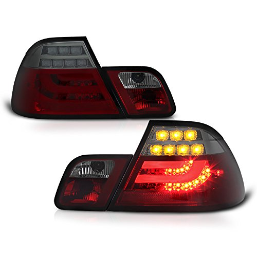 [For 2003-2006 BMW E46 3-Series Coupe] VIPMOTOZ Premium OLED Neon Tube Tail Light Lamp - Smoke Red Lens, Driver & Passenger (Bmw 325 Coupe)