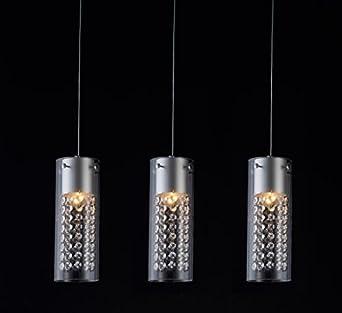 Glighone 3 Flammig Hängeleuchte Kristall Modern Kronleuchter Hängelampe  Pendelleuchte Höhenverstellbar Lampe Für Esstisch Esszimmer Küche