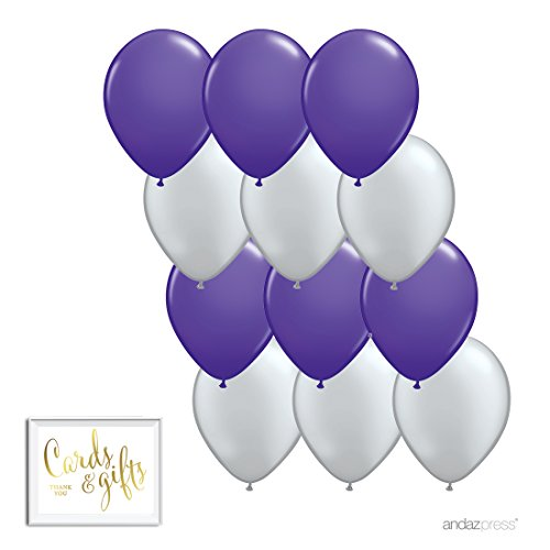 Andaz Press 11-inch Latex Balloon Duo Party Kit with Gold Cards & Gifts Sign, Royal Purple and Silver Gray, 12-pk