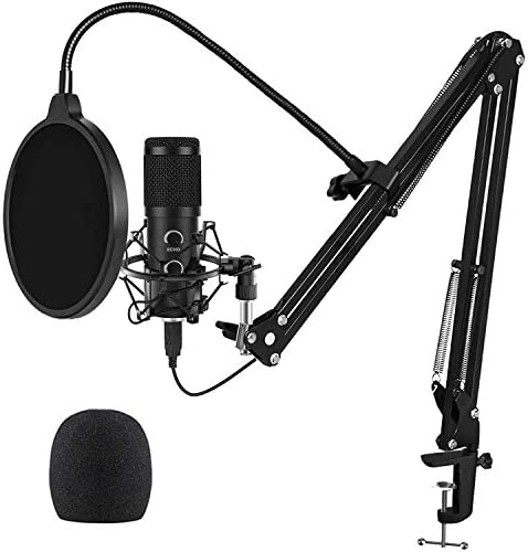 2021 Upgraded USB Microphone for Computer, Mic for Gaming, Podcast, Live Streaming, YouTube on PC, Mic Studio Bundle with Adjustment Arm Stand, Fits for Windows & Mac PC, Plug & Play Design, Black