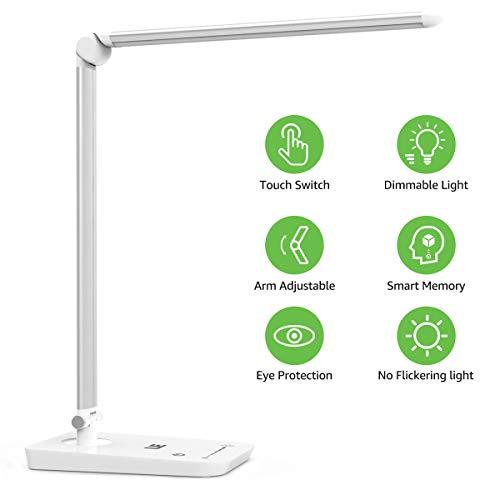 LE Lampara de Escritorio LED, 8W 7 Niveles de Brillo, Cuidado a la Vista, Blanco frio 5000K, Luz de Mesa para Trabajo y Lectura