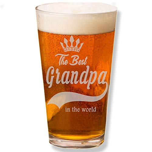 Shop4Ever The Best Grandpa In The World Laser Engraved Beer Pint Glass ~ Father's Day Gift ~ (Engraved, 16 oz.)