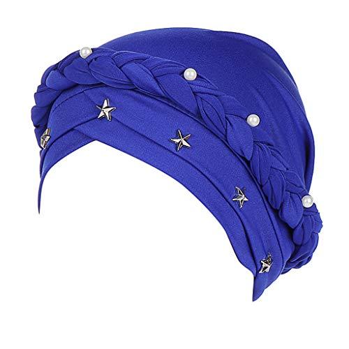 XUANOU Women Beading Braid Muslim Bonnet Hijab Headscarf Headscarf Chemo Caps