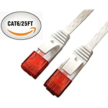 Cat6 Ethernet Cable 25 Feet , Red Snagless RJ45 Flat CAT6 Patch Cable - White- 25FT
