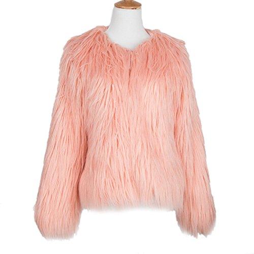 LLQ Abrigo para Mujer Invierno Piel Abrigo Mujer Caliente Chaqueta Piel Long Section Ropa Mujer Fur Coat Fur jacket Mujer Abrigo Pelo Invierno(Negro) Rosa