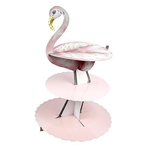 - Talking Tables Truly Flamingo 3-Tier Floral Cake Stand Centerpiece for a Birthday or Tea Party