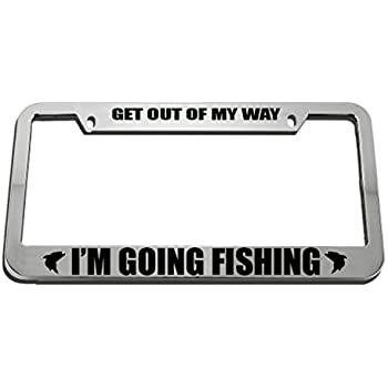 JUST WISHING I WAS FISHING License Plate Frame Stainless Metal Tag Holder