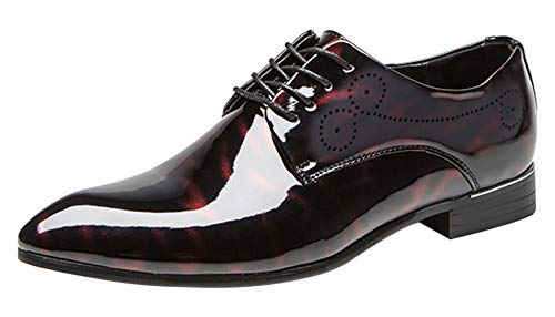 Dress Shoes Men Pointed Toe Floral Patent Leather Lace Up Oxford Fashion Formal Shoes Black Blue Red