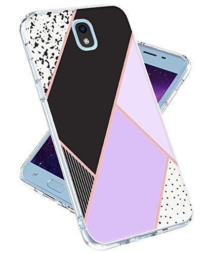 Galaxy J7 2018 Case,Galaxy J7 Refine,Galaxy J7 V 2nd Gen,J7 Star,J7 Aero,J7 Top Case for Girls Women,lovemecase Marble Design Clear Bumper TPU Soft Case Rubber Silicone Skin Cover (Purple Marble)