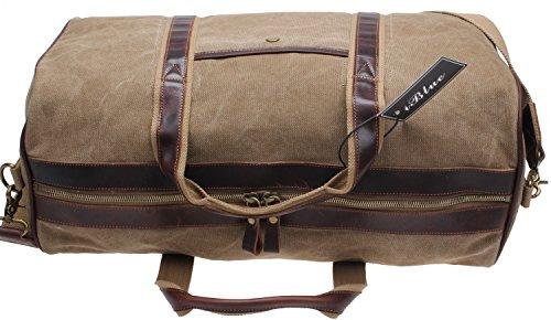 Iblue Canvas Weekender Duffel Tote Leather Trim Travel Luggage Sports Gym Bag 21in #i521 (XL, khaki) by iblue (Image #4)