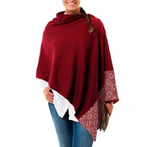 Norwegian Womens 100% Merino Wool Poncho Shawl w/ FREE 100% Merino Cap by Vrikke