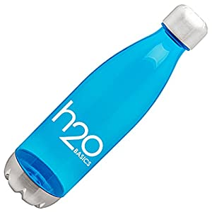 BPA-Free Sport Water Bottles 25 oz, Tritan Non Toxic Plastic, Reusable Flask with Stainless Steel Leak Proof Twist Off Cap & Steel Base, Cola Bottle Shape (Aqua, 25 Ounces)