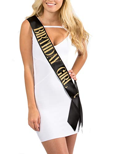 Dulcet Downtown Black Satin Birthday Girl Sash with Gold Glitter