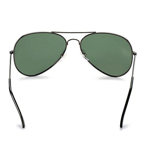 Pro Acme Classic Polarized Aviator Sunglasses for Men and Women UV400 Protection Gunmetal Frame/G15 Green Lens
