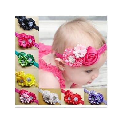 10pcs Girl Baby Kids Toddler Infant Flower Rhinestone Headband Hair Accessories Band