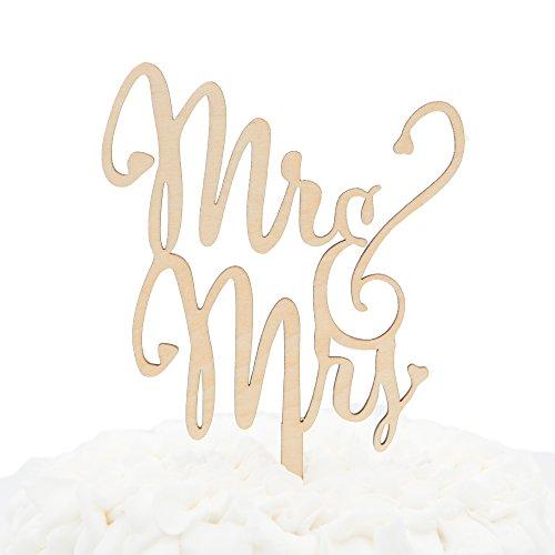 Ella Celebration Mr & Mrs Wooden Wedding Cake Topper, Small Rustic Reception Decoration (Mr and Mrs)