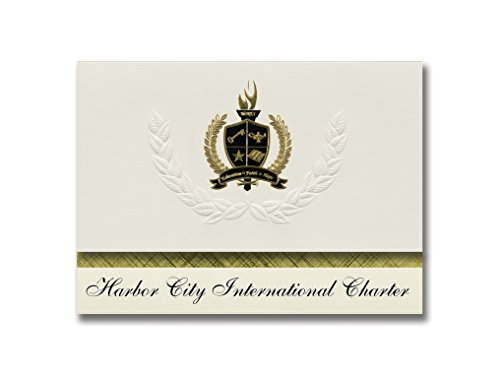 Signature Announcements Harbor City International Charter (Duluth, MN) Graduation Announcements, Presidential style, Basic package of 25 with Gold & Black Metallic Foil - International Harbor