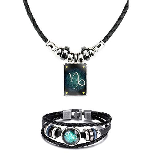 WLLAY Retro 12 Constellations Beaded Hand Woven Leather Bracelet and Rectangle Pendant Necklace Zodiac Sign Jewelry Set (Capricorn) (Best Zodiac Sign For Capricorn Man)