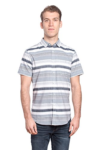 Free Planet Men's Horizontal Striped Collared Shirt with Chest Pocket (Mens Dress Up Outfits)