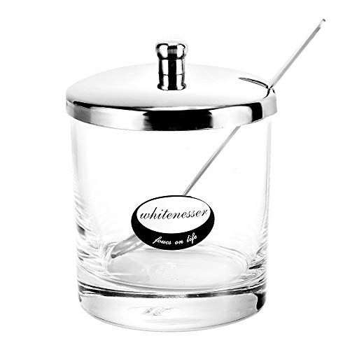 Glass Sugar Bowl Set with Lid and Spoon, Set of Clear Glass Spices Bottles with Lid and Stainless steel Spoon Serving Sugar Spices Paprika, Cumin, 8.5 Ounces(240 ()