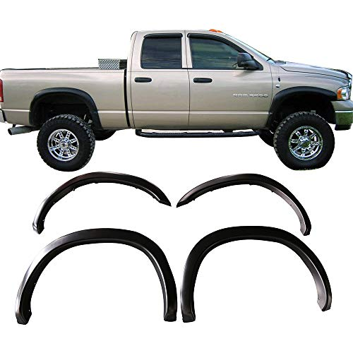 Free-Motor802 Fender Flares Fits 2002-2008 Dodge Ram 1500 And 2003-2009 Ram 2500 3500 | OE Style OEM Matte Black Finish PP Front Wheel Cover Protector Vent Trim