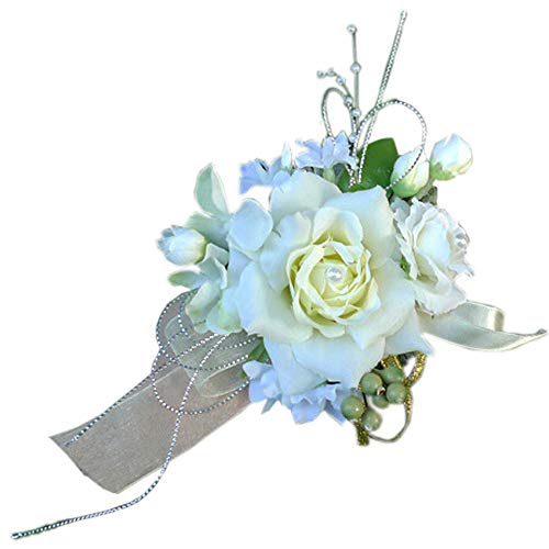 Arlai Bridal Wrist Corsage Wedding Party Artificial Flower Bridesmaid Brooch Wedding Bouquet Decoration Pack of 1 Beige ()
