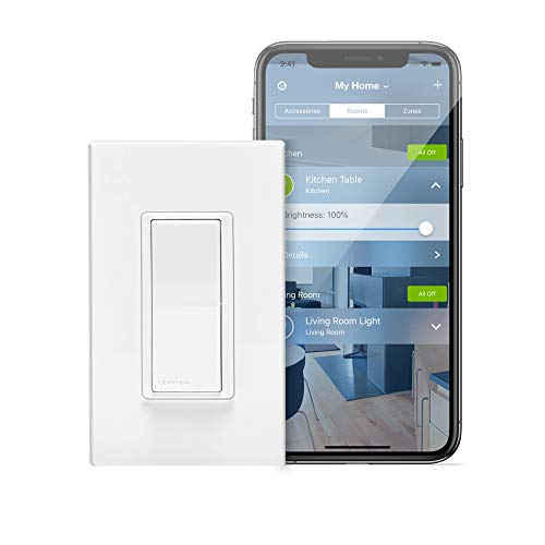 Leviton DH15S-1BZ 15A Decora Smart with HomeKit Technology Switch, No Hub Required, 1-Pack, White