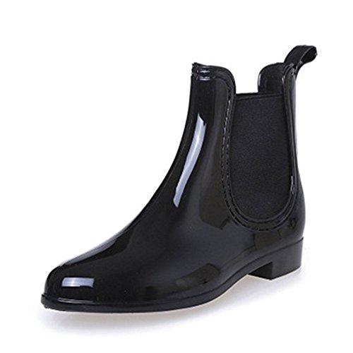 Auspicious beginning Women's Winter Fashion Vintage Waterproof Low Heel Snow Rain Boots Shoes Black 42jm7
