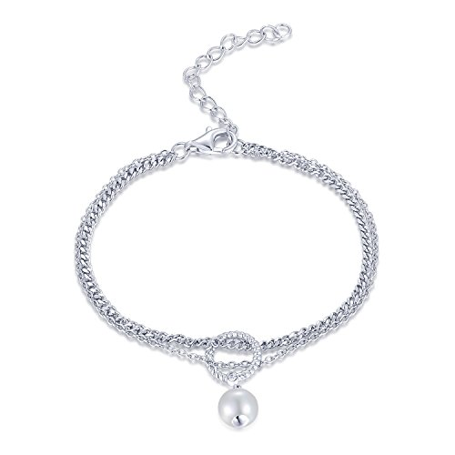 MaBelle 925 Sterling Silver Diamond White Freshwater Cultured Pearl Rolo and Curb Double Chain Bracelet