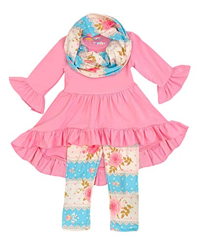Boutique Clothing Girls Spring Easter Vintage Rose Lace Top Leggings Scarf Set Pink 2T/XS