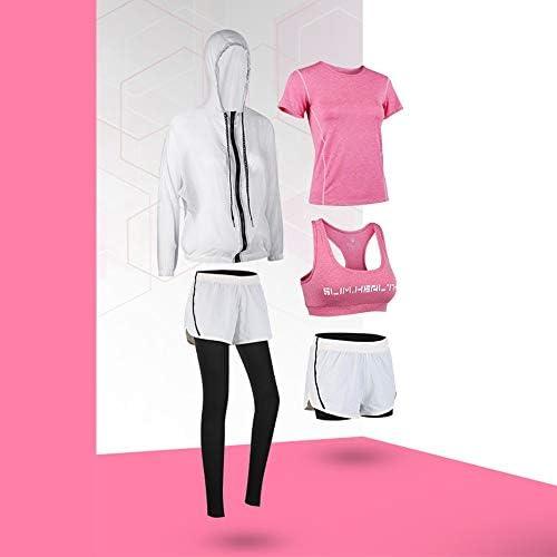 レディースジャージ上下セット レディースセクシーなカラーブロックジッパーアップパーカークロップトップ&ショーツセット5ピースの衣装 (Color : Pink, Size : M)