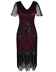 Burgundy 1920s Sequin Art Dress with Sleeve