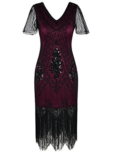 PrettyGuide Women's 1920s Dress Art Deco Sequin Fringed Flapper Dress L Burgundy -