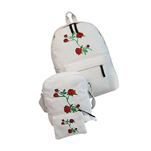 Clearance!Women Bags❤️COPPEN Women Fashion 3 Sets Women Girls Embroidery Rose School Bag Travel Backpack Bag Shoulder Bag (White) by COPPEN--Women Bags
