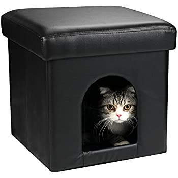 DEKINMAX 2 in 1 Collapsible PU Leather Black Cat Small Dog Rabbit Ottoman Condo Pet House and Soft Stool (M)